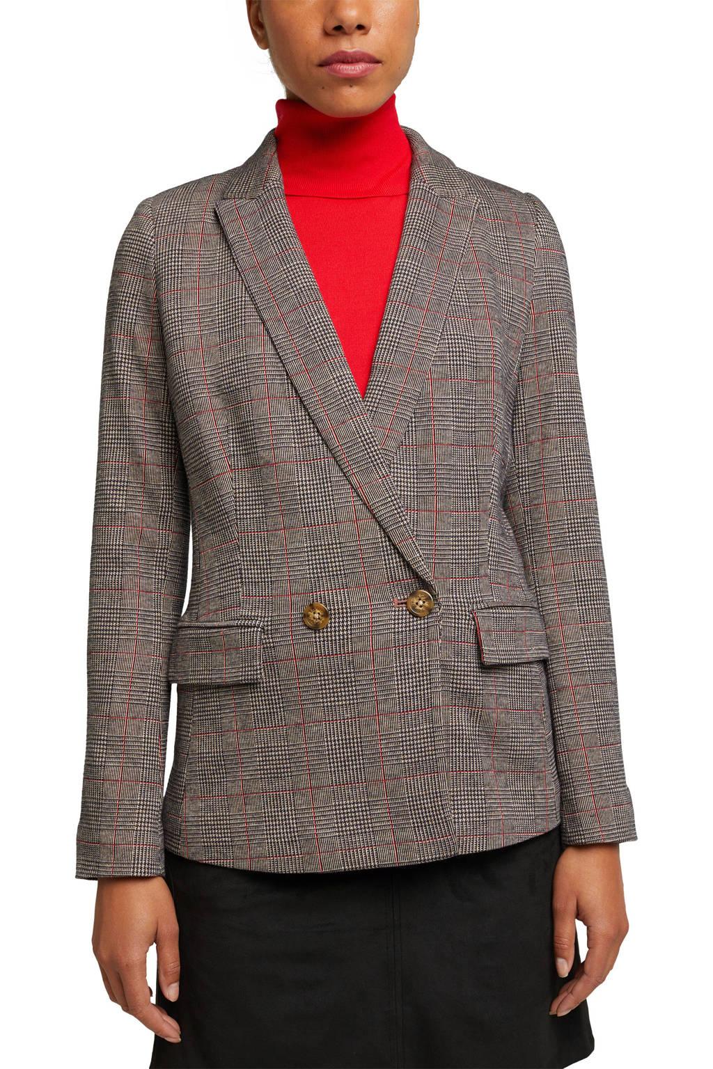 ESPRIT Women Casual geruite blazer bruin/zwart/rood, Bruin/Zwart/Rood