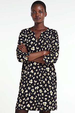 jurk met all over print zwart/groen
