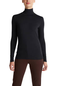 ESPRIT Women Casual top met col zwart, Zwart