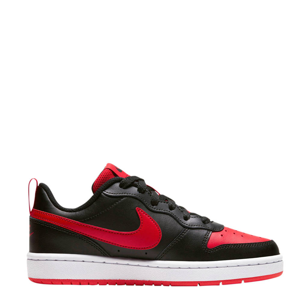 Nike Court Borough Low 2 (GS) leren sneaker zwart/rood, Zwart/rood