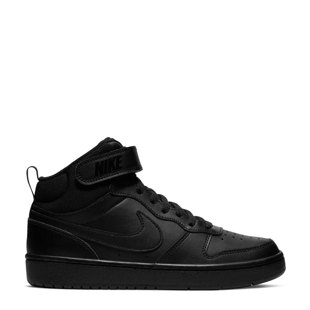 Nike Court Borough Mid 2 (GS) leren sneakers zwart, Zwart