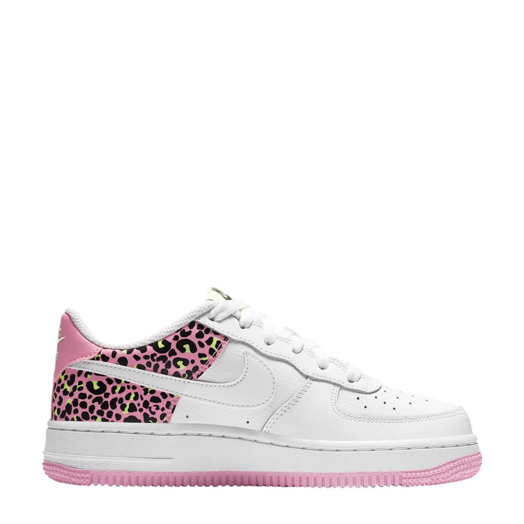 Nike NIKE AIR Force 1 '07 GS sneakers wit/roze en een stukje panterprint, Wit/roze