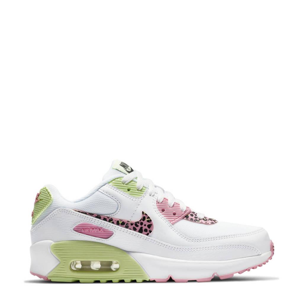 Nike Air Max 90 LTR (GS) sneakers wit/roze/limegroen, Wit/roze/limegroen