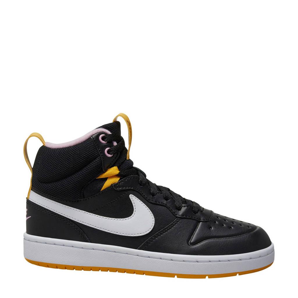 Nike Court Borough Mid 2 leren sneakers zwart/wit/geel, Zwart/wit/geel