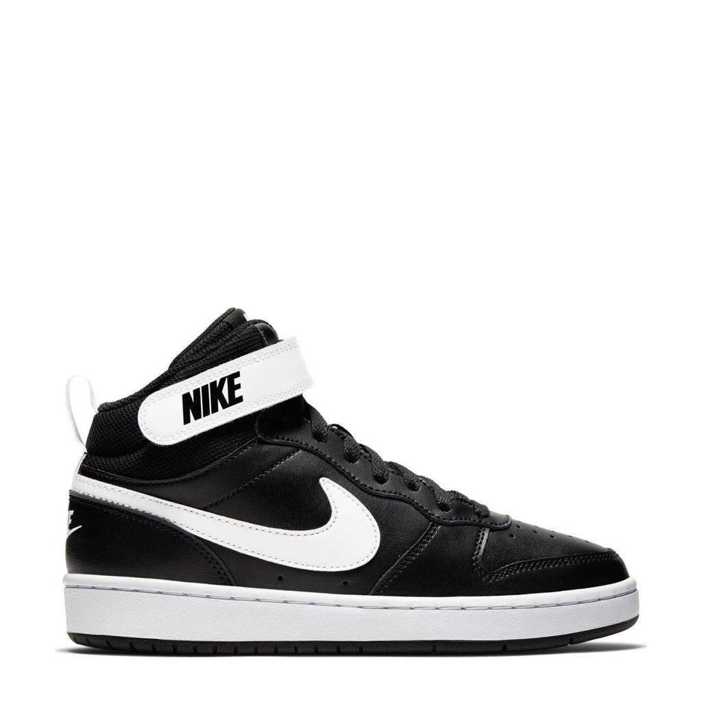 Nike Court Borough Mid 2 (GS) leren sneakers zwart/wit, Zwart/wit