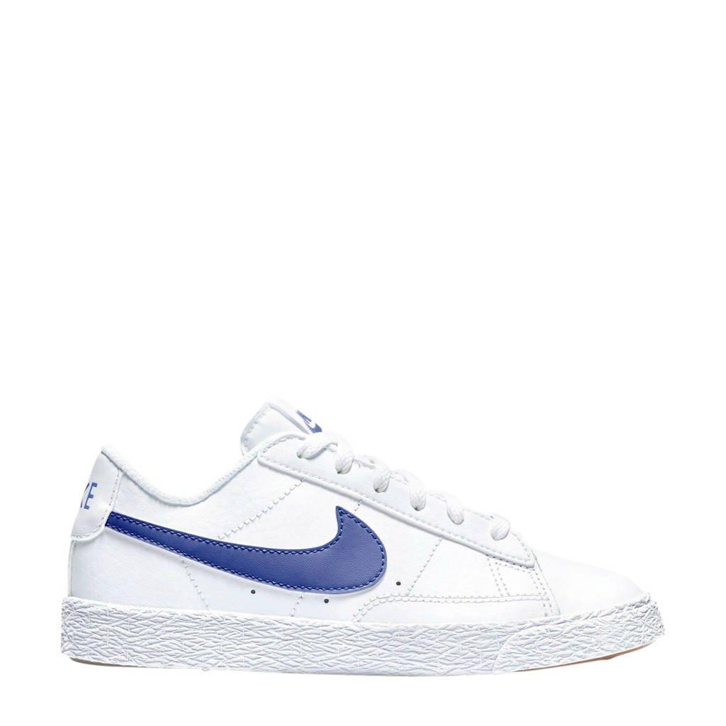 Nike Blazer Low (PS) leren sneakers wit/blauw, Wit/blauw