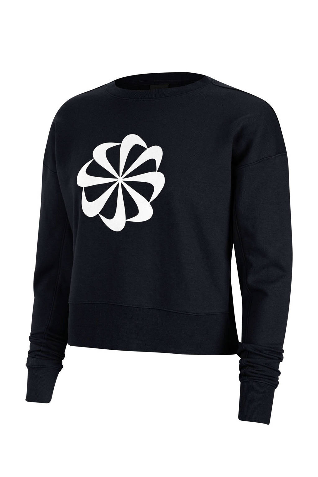 Nike cropped sportsweater zwart, Zwart