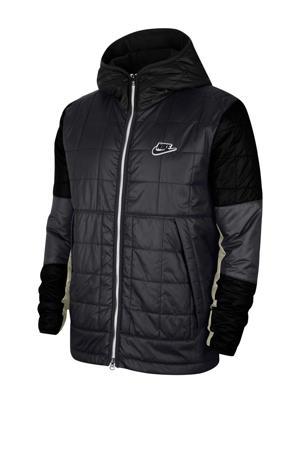 gewatteerde jas zwart/wit
