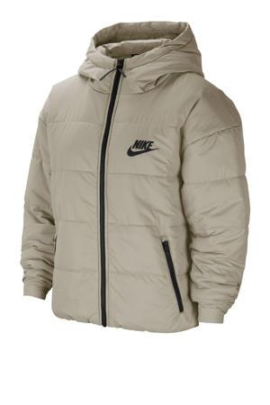 gewatteerde jas beige/zwart/wit