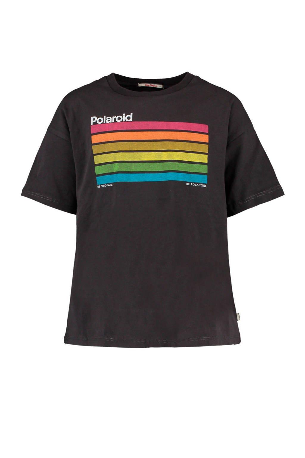 America Today Junior T-shirt Ela met printopdruk zwart/geel/blauw, Zwart/geel/blauw