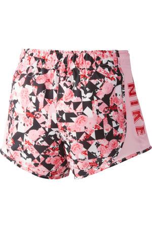 sweatshort roze/wit/zwart