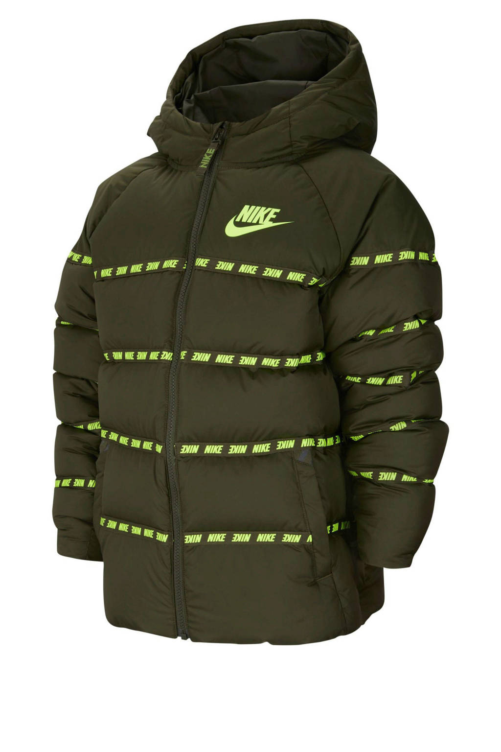 Nike gewatteerde winterjas kaki/limegroen, Kaki/limegroen