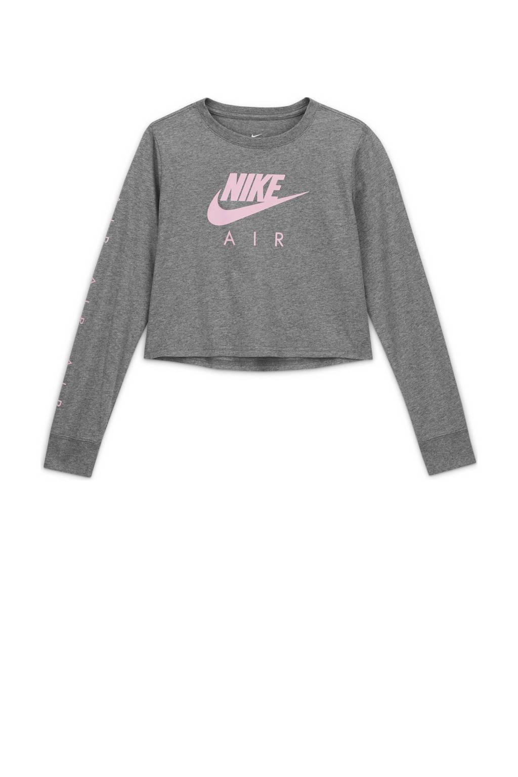 Nike cropped longsleeve grijs/roze, Grijs/roze