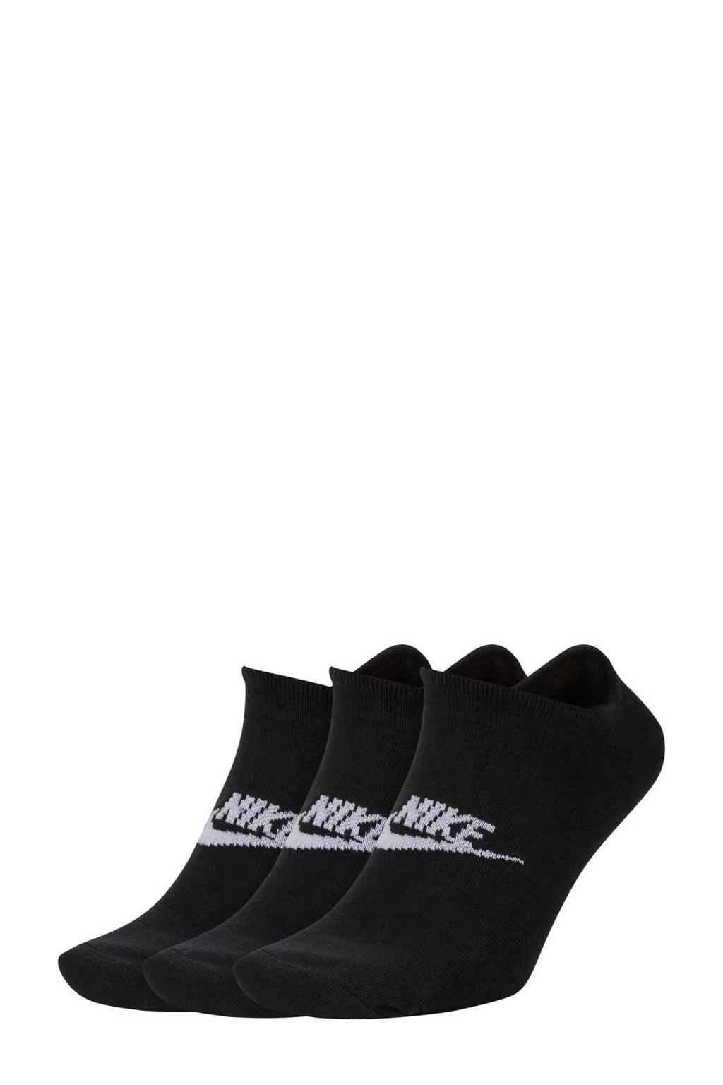 Nike sneakers sokken - set van 3 zwart, Zwart/wit