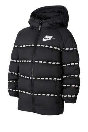 gewatteerde winterjas zwart/wit
