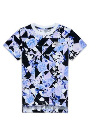 T-shirt zwart/violet