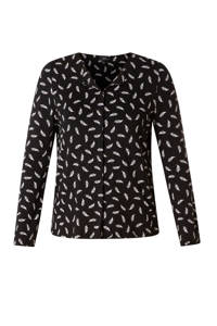 Yesta top met all over print zwart/wit, Zwart/wit