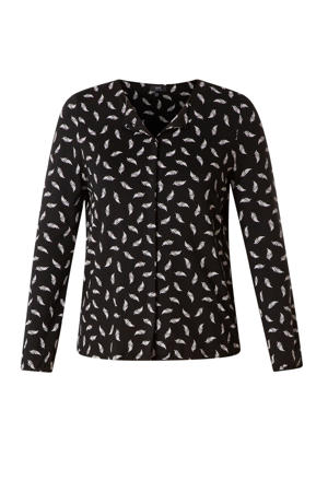 top met all over print zwart/wit
