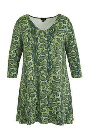 tuniek met slangenprint en plooien lichtgroen/groen/donkergroen