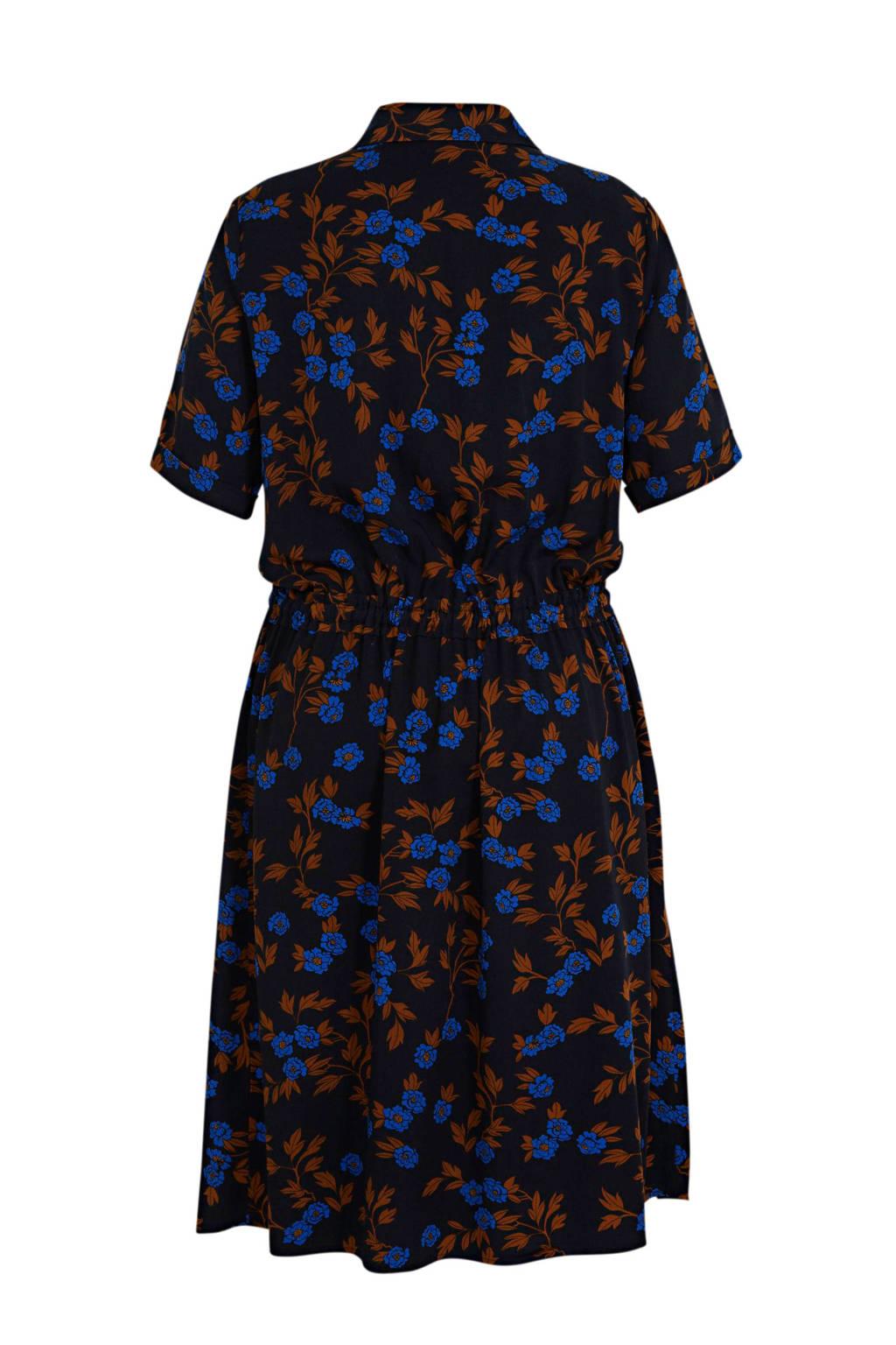 Yesta blousejurk met all over print donkerblauw/blauw/bruin, Donkerblauw/blauw/bruin