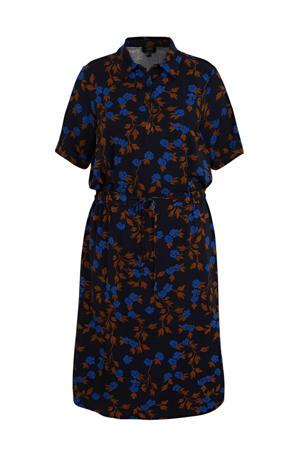 blousejurk met all over print donkerblauw/blauw/bruin