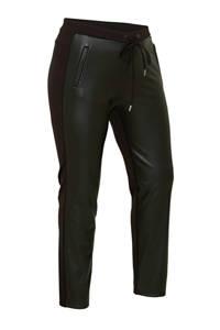 Yesta coated slim fit joggingbroek zwart, Zwart