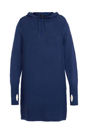 gebreide hoodie met open detail blauw