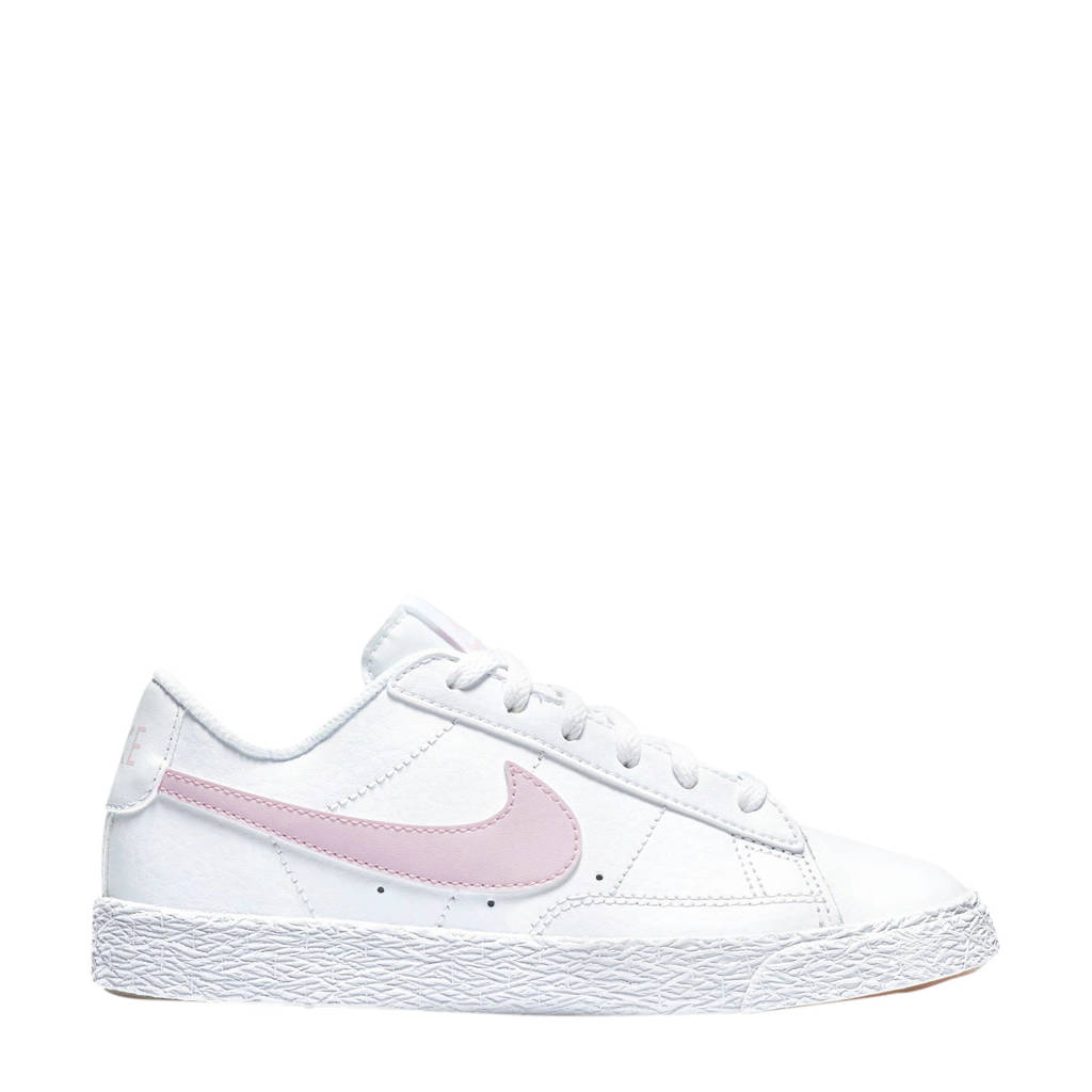 Nike Blazer Low (PS) leren sneakers wit/roze, Wit/roze