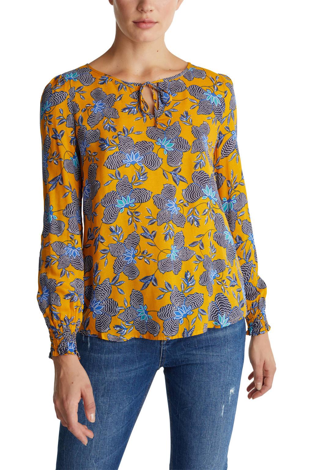 ESPRIT Women Casual blouse met all over print en open detail geel/blauw/zwart, Geel/Blauw/Zwart