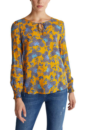 blouse met all over print en open detail geel/blauw/zwart