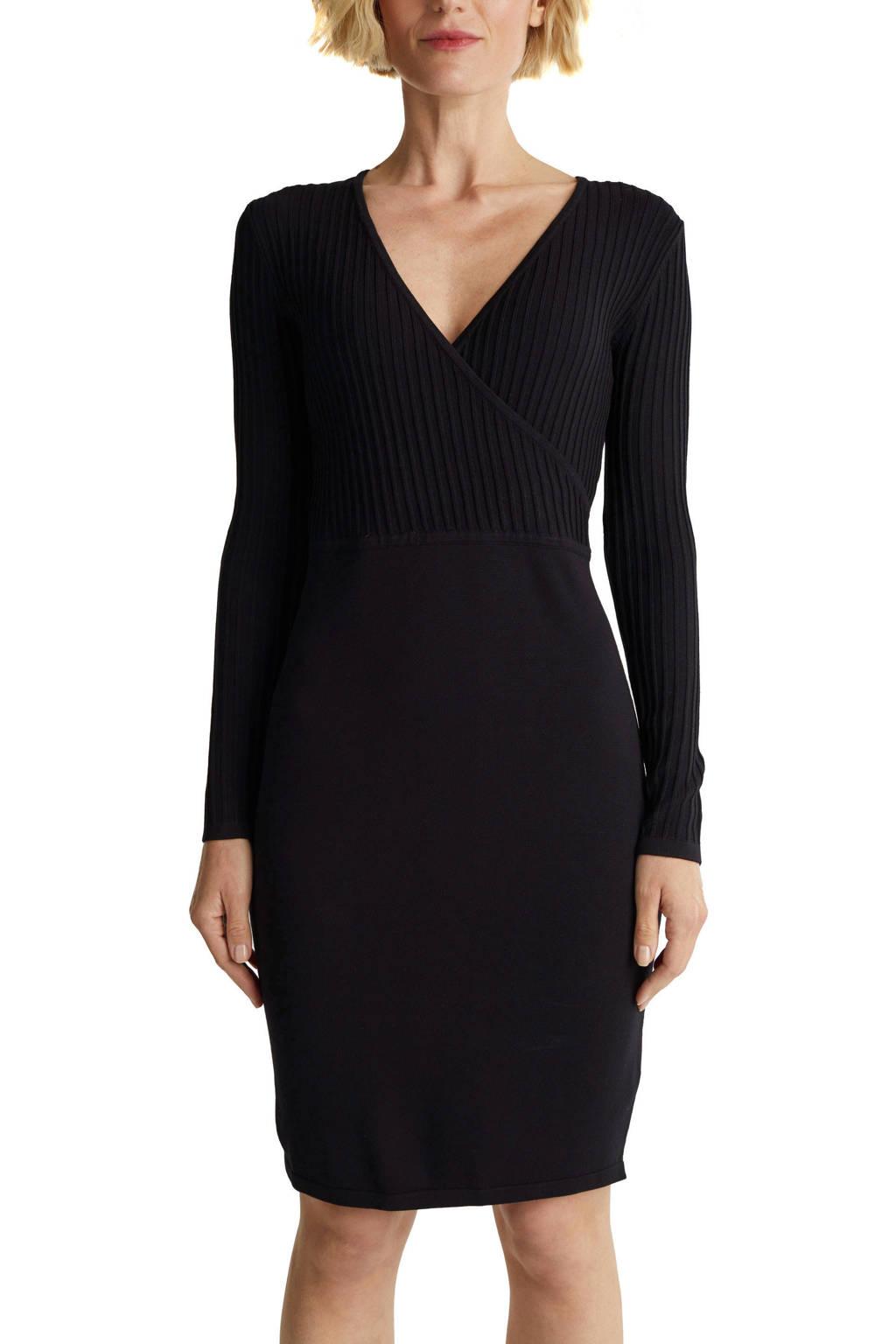 ESPRIT Women Collection ribgebreide jurk Ecovero dress zwart, Zwart