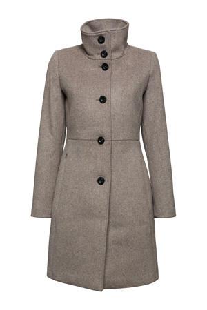 coat met wol grijs/zwart