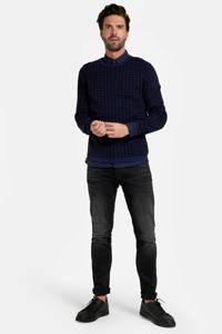 Refill by Shoeby trui Ragnar met pied-de-poule donkerblauw/zwart, Donkerblauw/zwart