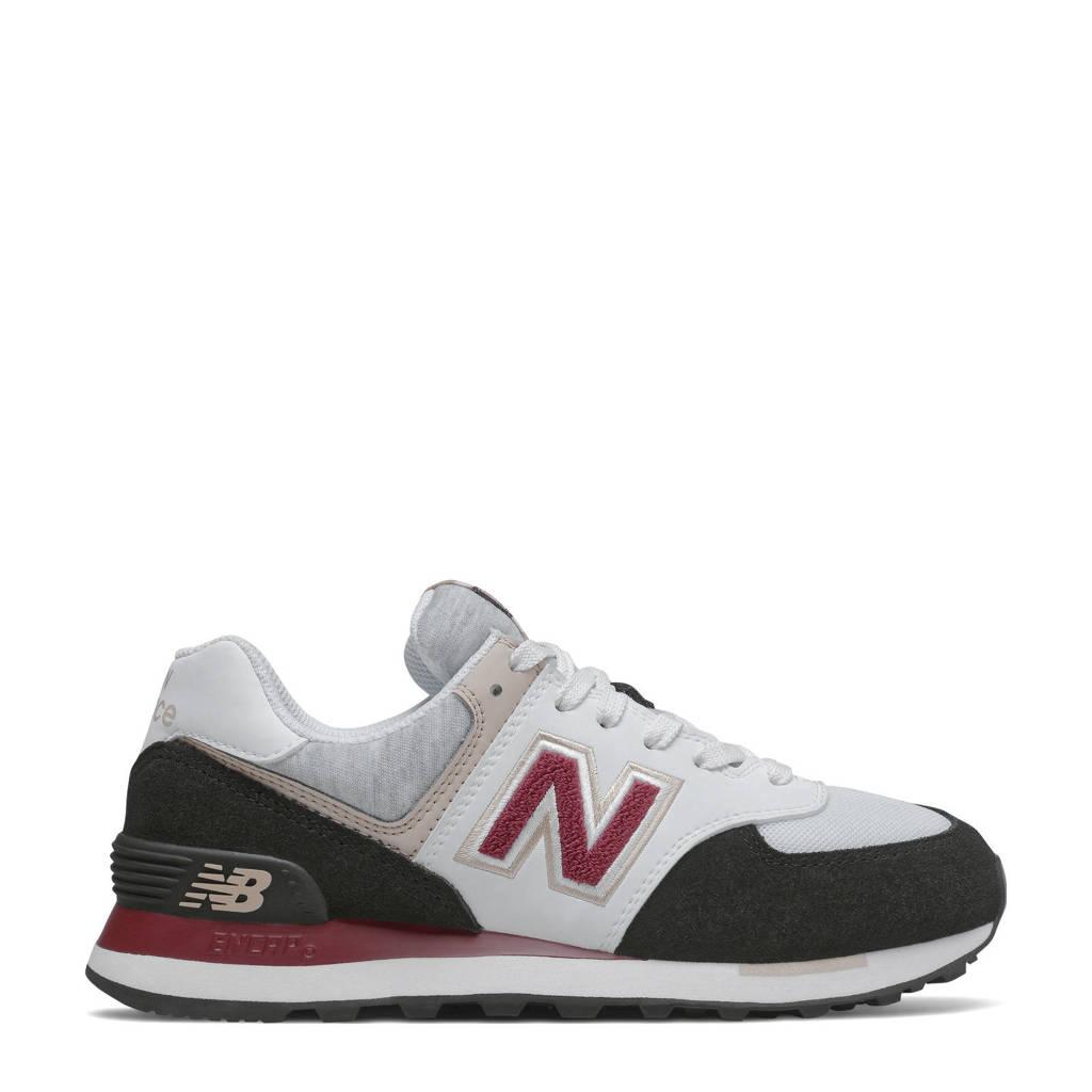 New Balance 574  suède sneakers zwat/wit/roze, Zwart/wit/roze