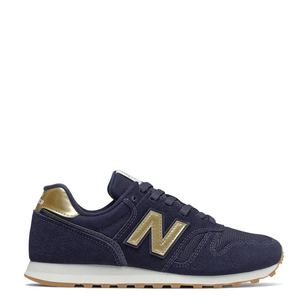 New Balance 373  suede sneakers donkerblauw/goud, Donkerblauw/goud