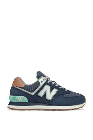574  suède sneakers donkerblauw/groen