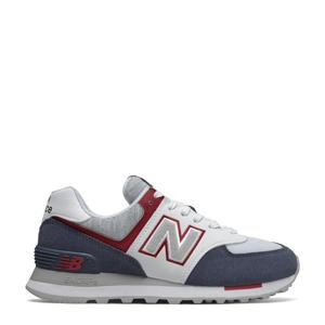574  suède sneakers donkerblauw/wit/roze