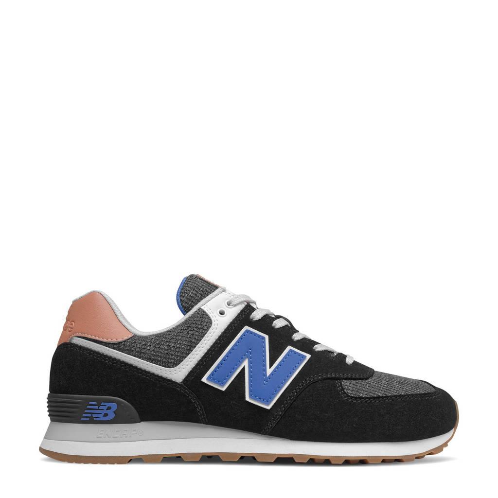 New Balance 574  suede sneakers zwart/kobaltblauw, Zwart/kobaltblauw
