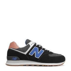 574  suede sneakers zwart/kobaltblauw