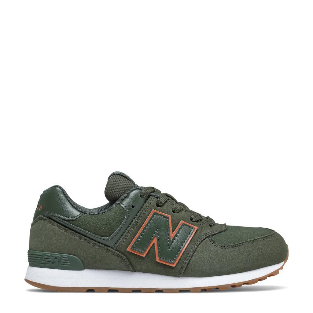New Balance 574  sneakers groen/oranje, kaki/oranje