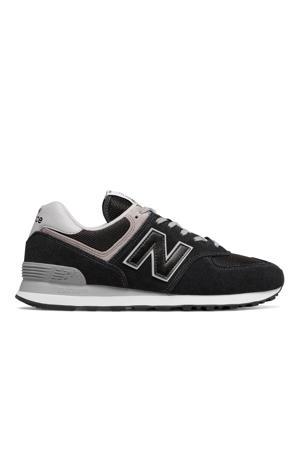 574  suede sneakers zwart/lichtgrijs