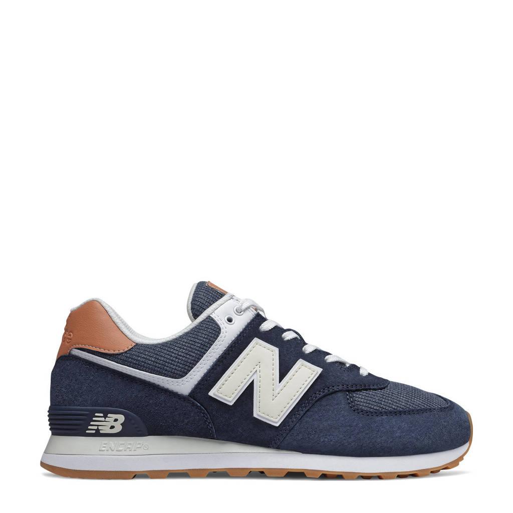 New Balance 574  suede sneakers zwart/zilver, Zwart/zilver