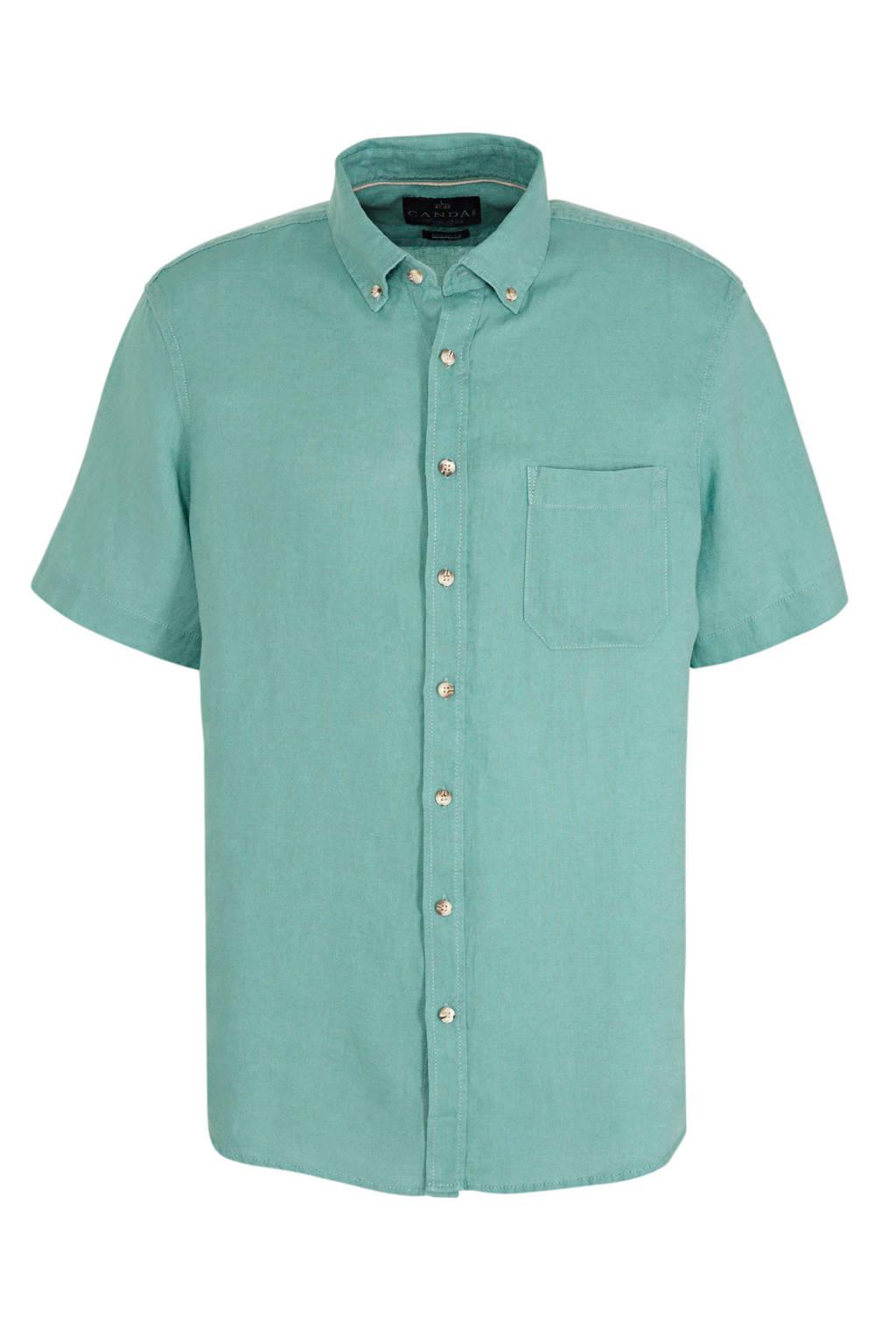 C&A Canda linnen regular fit overhemd groen, Groen