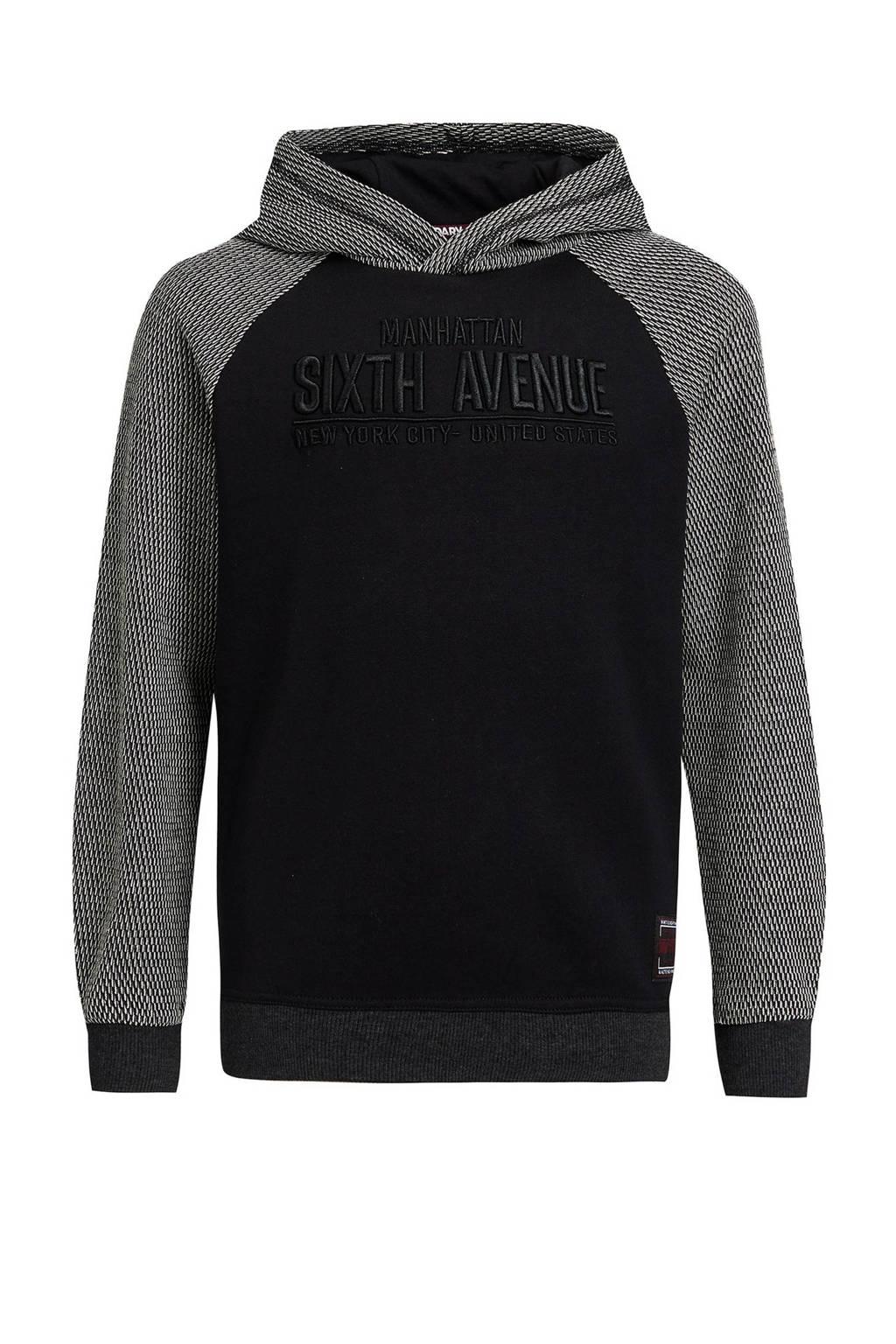 WE Fashion hoodie met borduursels zwart/grijs, Zwart/grijs
