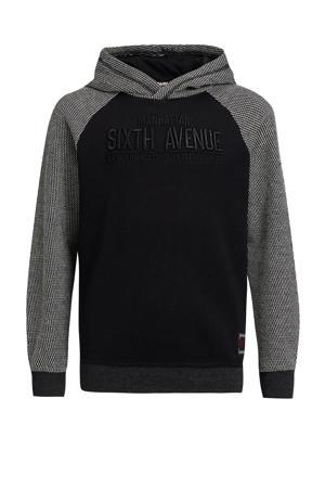 hoodie met borduursels zwart/grijs