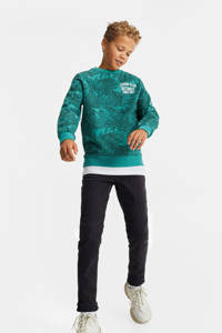 WE Fashion sweater met bladprint groen/zwart, Groen/zwart