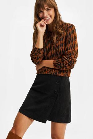 sweater met dierenprint cognac/zwart