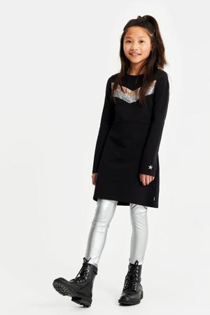 skinny fit metallic legging zilver
