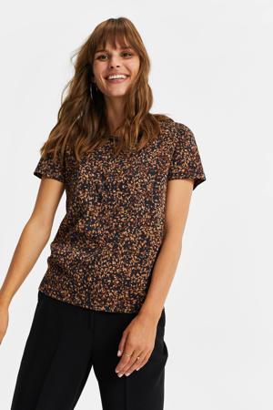 T-shirt met all over print bruin