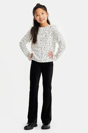 regular fit blouse met sterrenprint wit/zwart